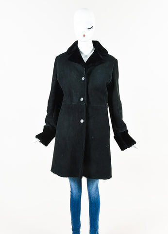 Jil Sander Black Leather Shearling Buttoned Coat Front
