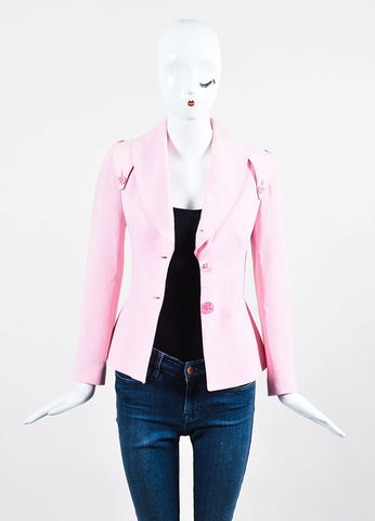 Luca Luca Light Pink Wool and Silk Blend Crepe Blazer Jacket Frontview