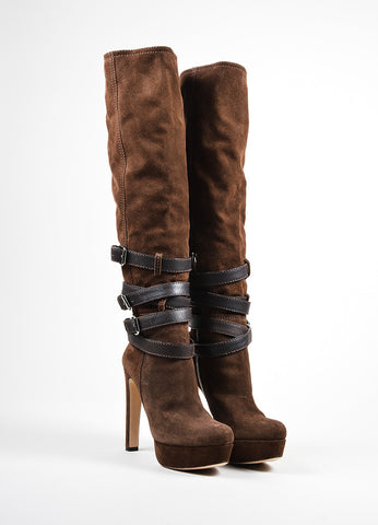 Brown Miu Miu Suede Leather Buckle Strap Platform Knee High Boots Frontview