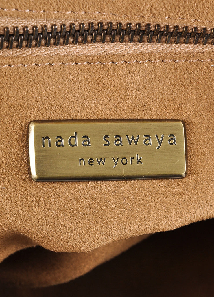 "Nada Sawaya New With Tags Brown and Purple Studded Leather ""Mini Josy"" Satchel Bag Brand"