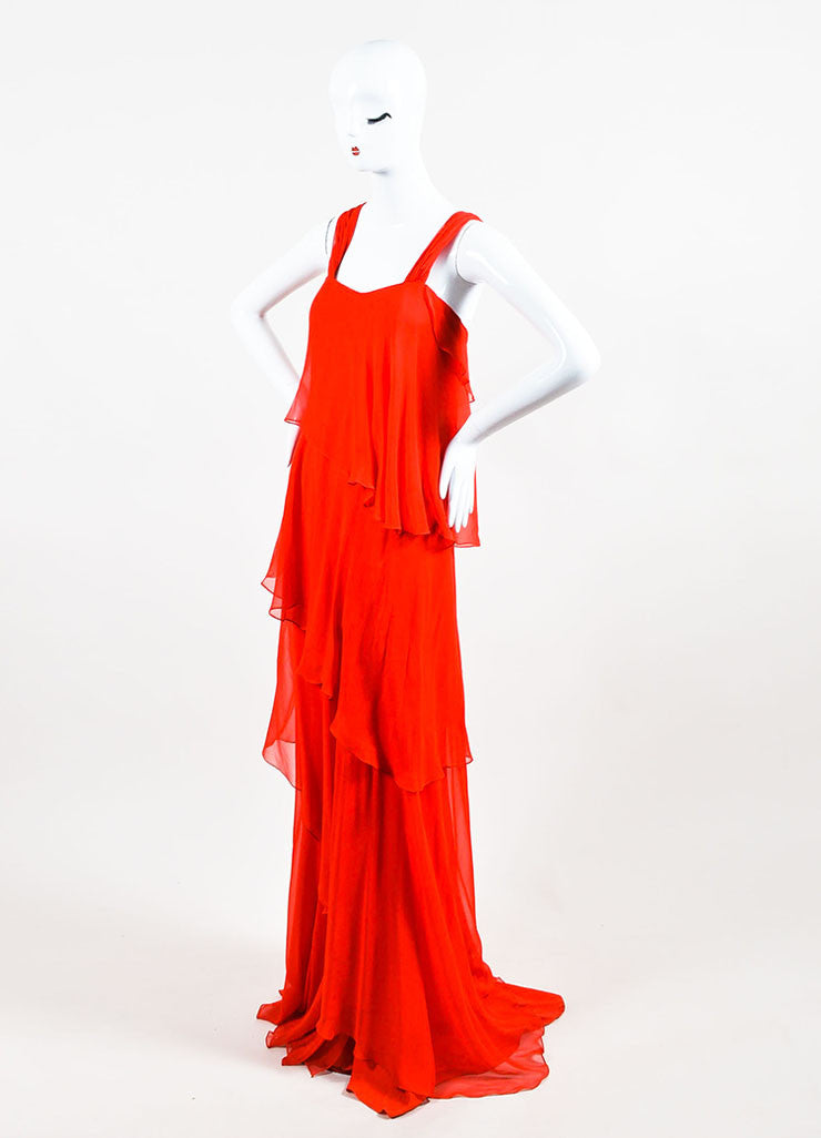 Red Pamella Roland Chiffon Asymmetrically Tiered Ruffle Dress Front 2