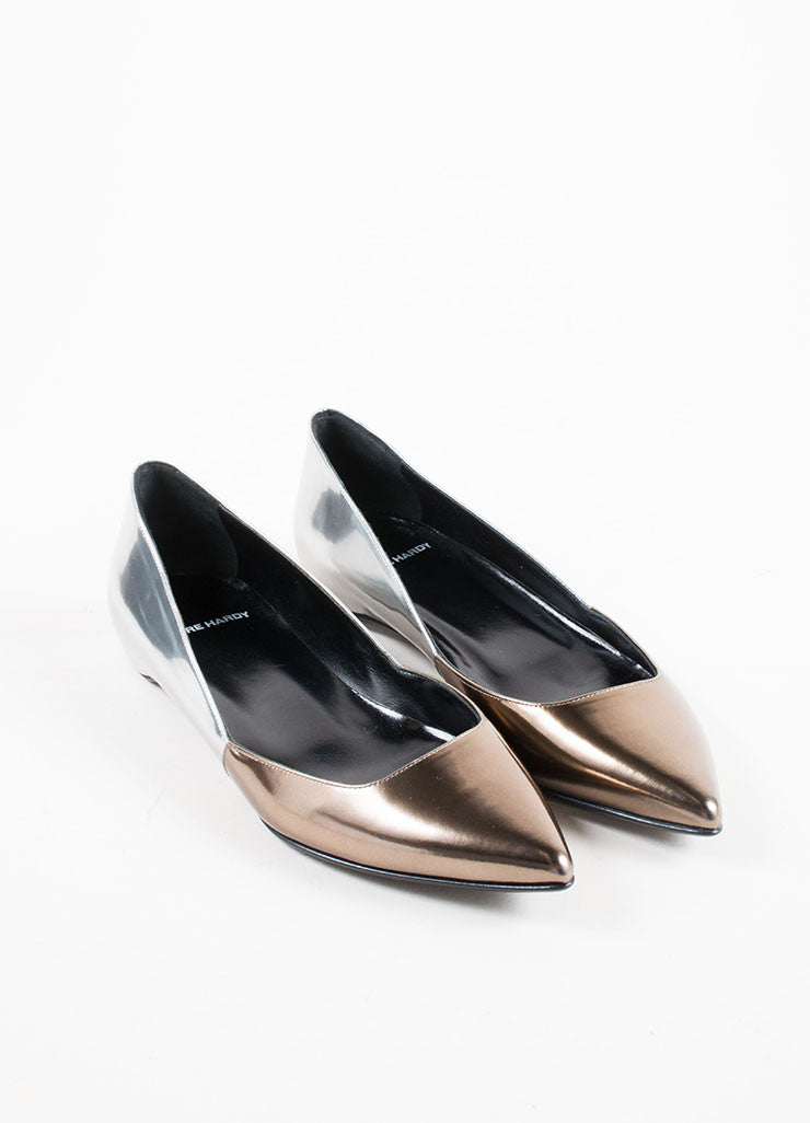 Pierre Hardy Silver and Bronze Leather Pointed Ballerina Flats Frontview