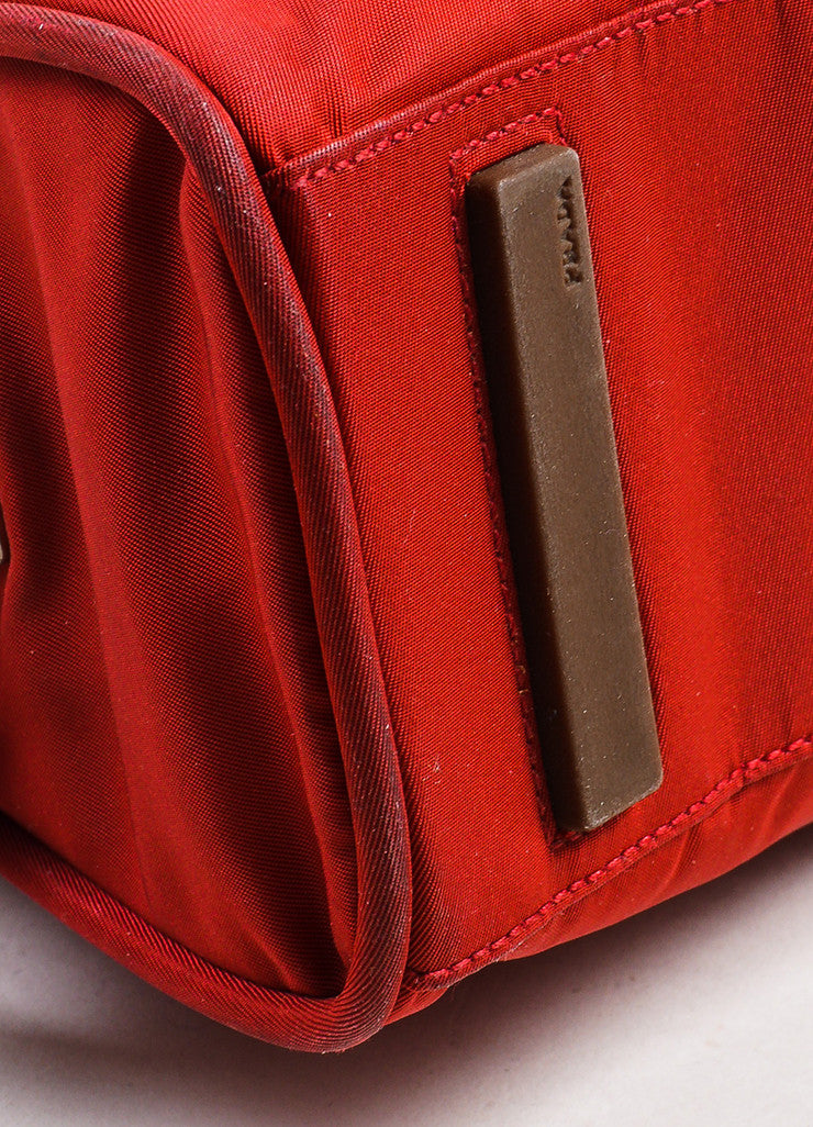 Red Prada Tessuto Nylon Three Compartment Tote Bag Detail 2