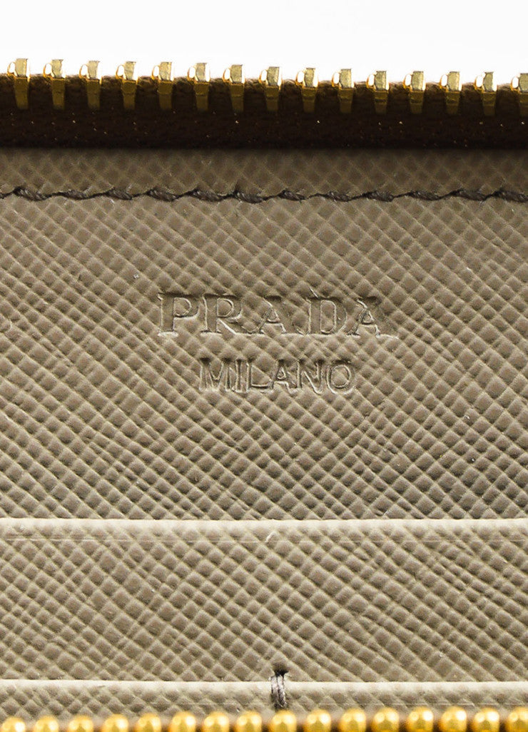 Prada Taupe Saffiano Leather Gold Toned Hardware Long Zip Around Wallet Brand