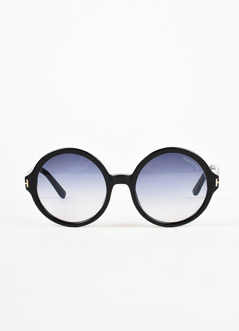 "Tom Ford Black Gradient Lens Oversized Round ""Juliet"" Sunglasses frontview"