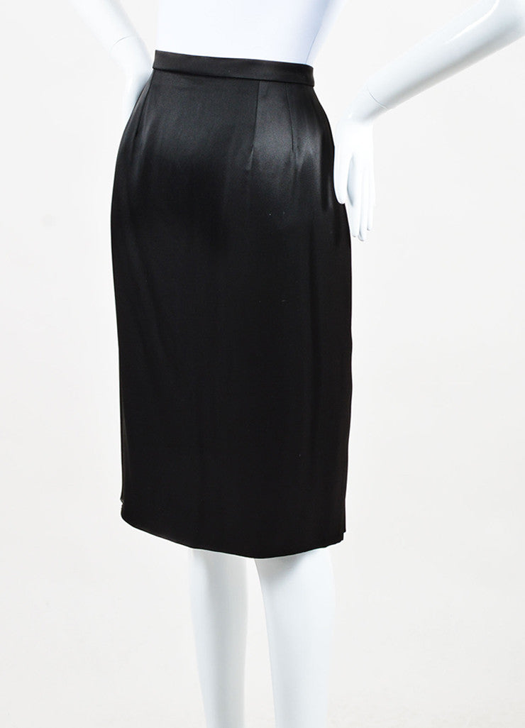 Chanel 95A Black Satin 'CC' Button Skirt Front
