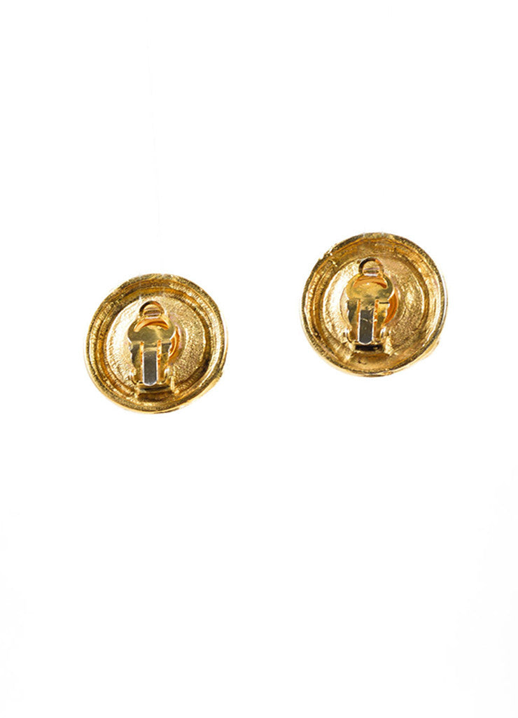 Chanel Gold Toned and White Faux Pearl Round Earrings Backview