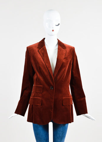 Hermes Rust Cotton Velvet One Button Long Tailored Blazer Frontview 2