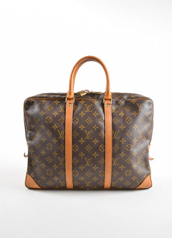 "Louis Vuitton Brown Coated Canvas and Leather ""Porte-Documents Voyage"" Briefcase Frontview"