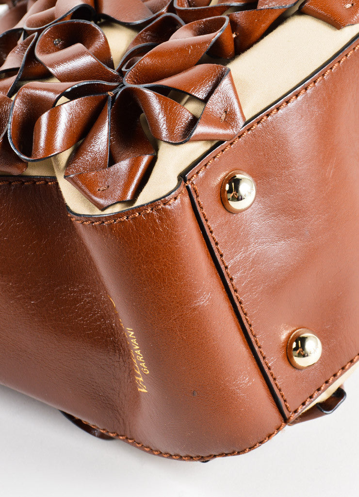Valentino Brown Flower Embellished Tote Bag Detail