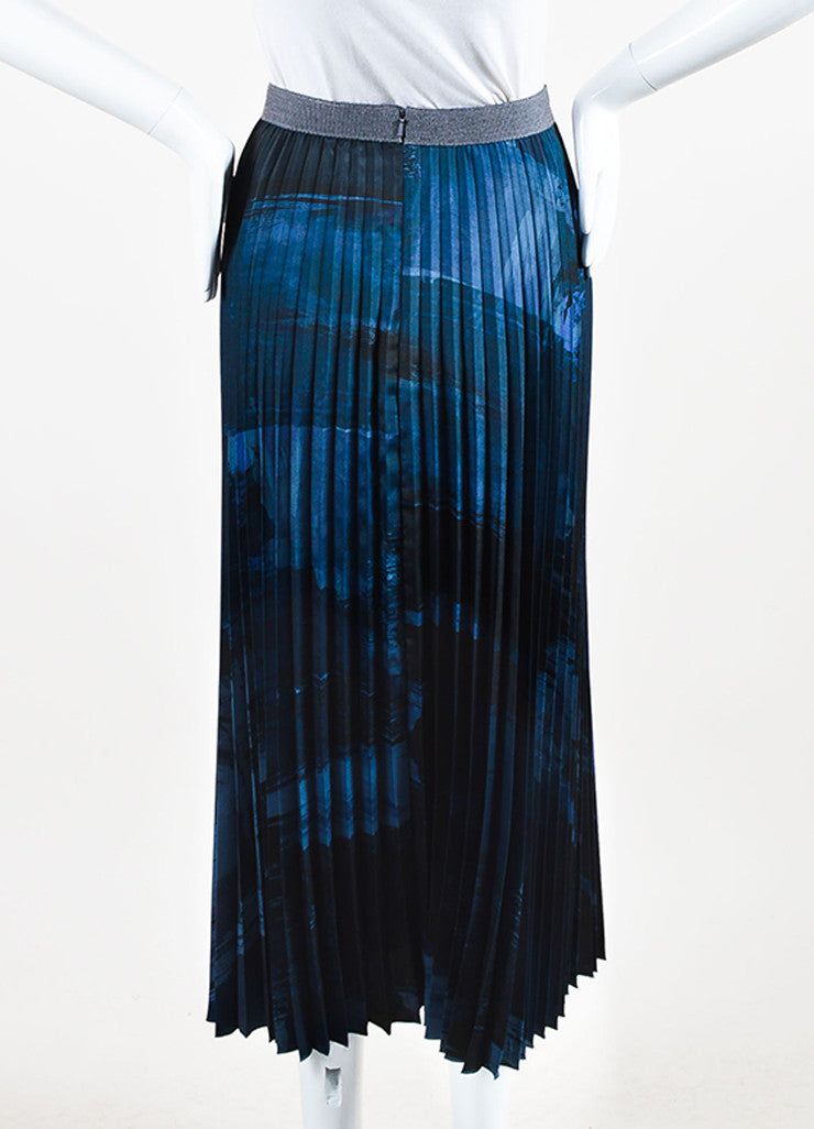 Weekend Max Mara Blue and Black Accordion Pleated Midi Skirt Backview