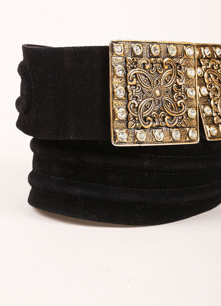 Yves Saint Laurent Black and Brass Toned Suede Rhinestone Plate Belt Detail