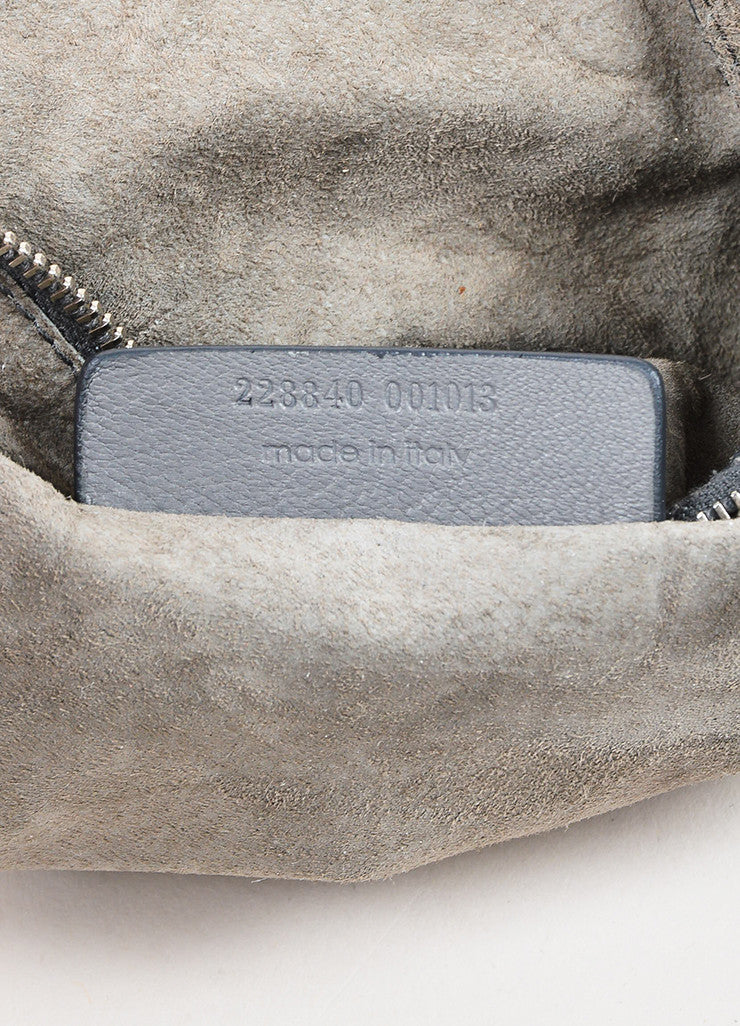 "Yves Saint Laurent Grey Leather Stingray Handle ""Roady"" Hobo Bag Serial"