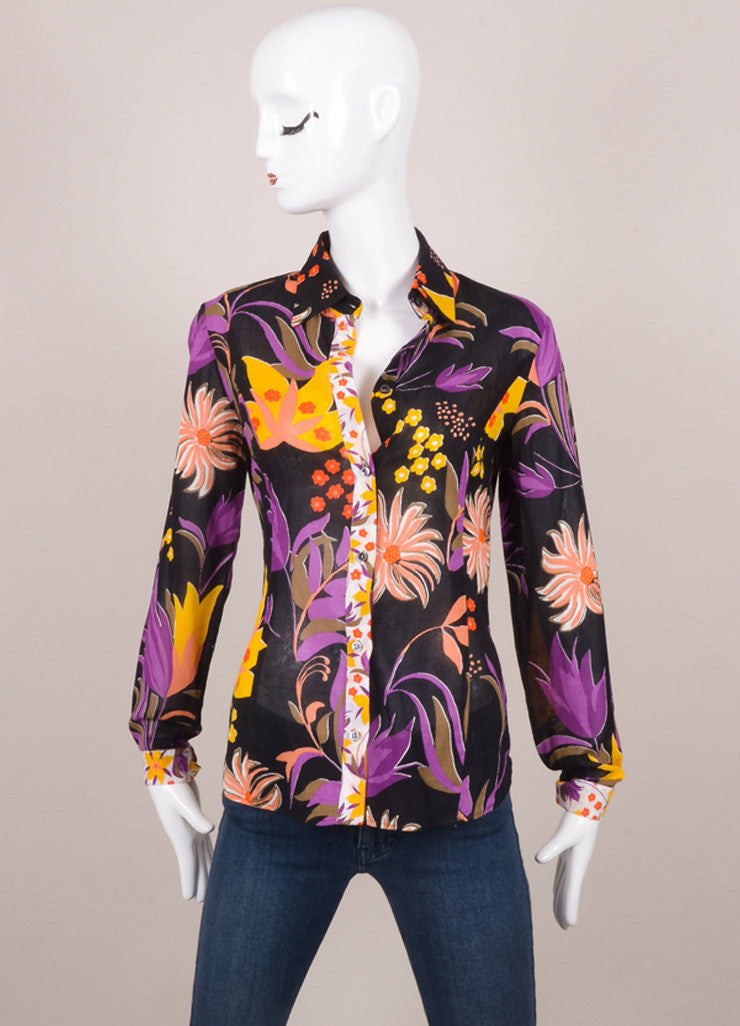 Black, Purple, Yellow Tropical Floral Print Long Sleeve Shirt