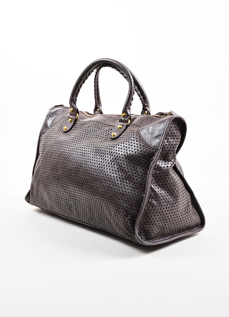 "Balenciaga Dark Grey Distressed Leather ""Classic Perforated Work"" Bag Back"