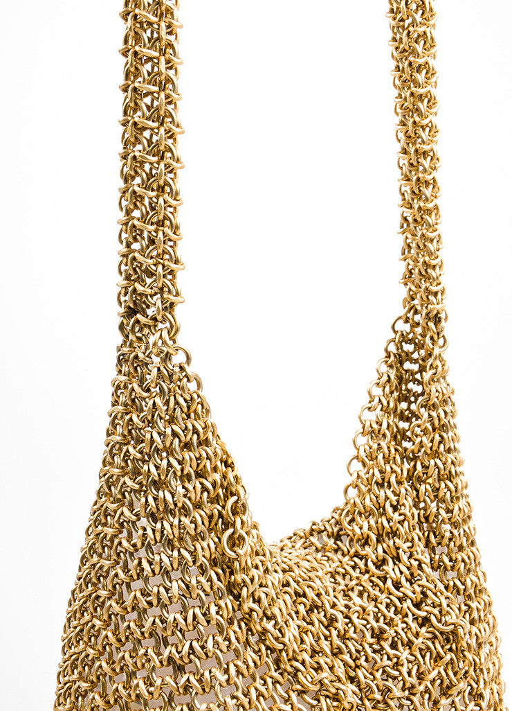 Bottega Veneta Gold Toned Chainmail Small Shoulder Bag Detail 2