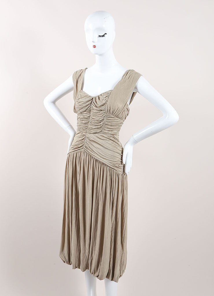 Burberry Prorsum Taupe Ruched Sleeveless Midi Dress Sideview