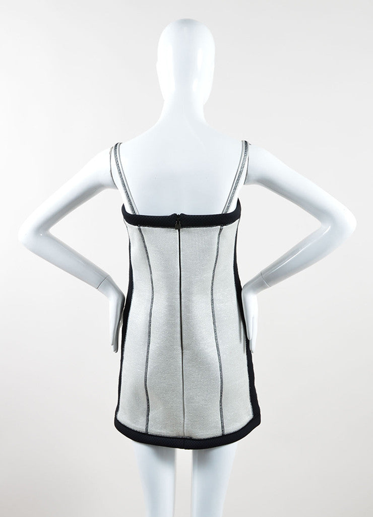 Chanel Silver and Black Metallic Woven Mesh Sporty Sleeveless Dress Backview