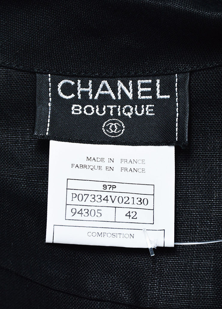 Black Chanel Linen 'CC' Buttoned Chest Pocket Short Sleeve Blouse Brand