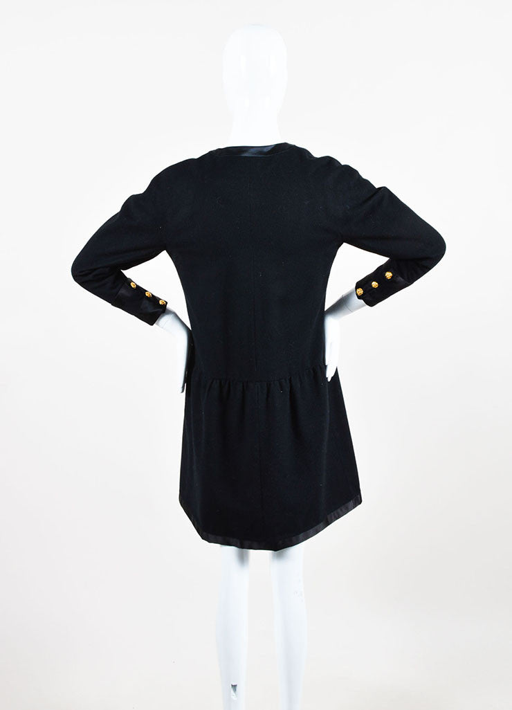 Chanel Black and Gold Toned Flower Button Front Bow Neck Drop Waist Long Sleeve Dress Backview