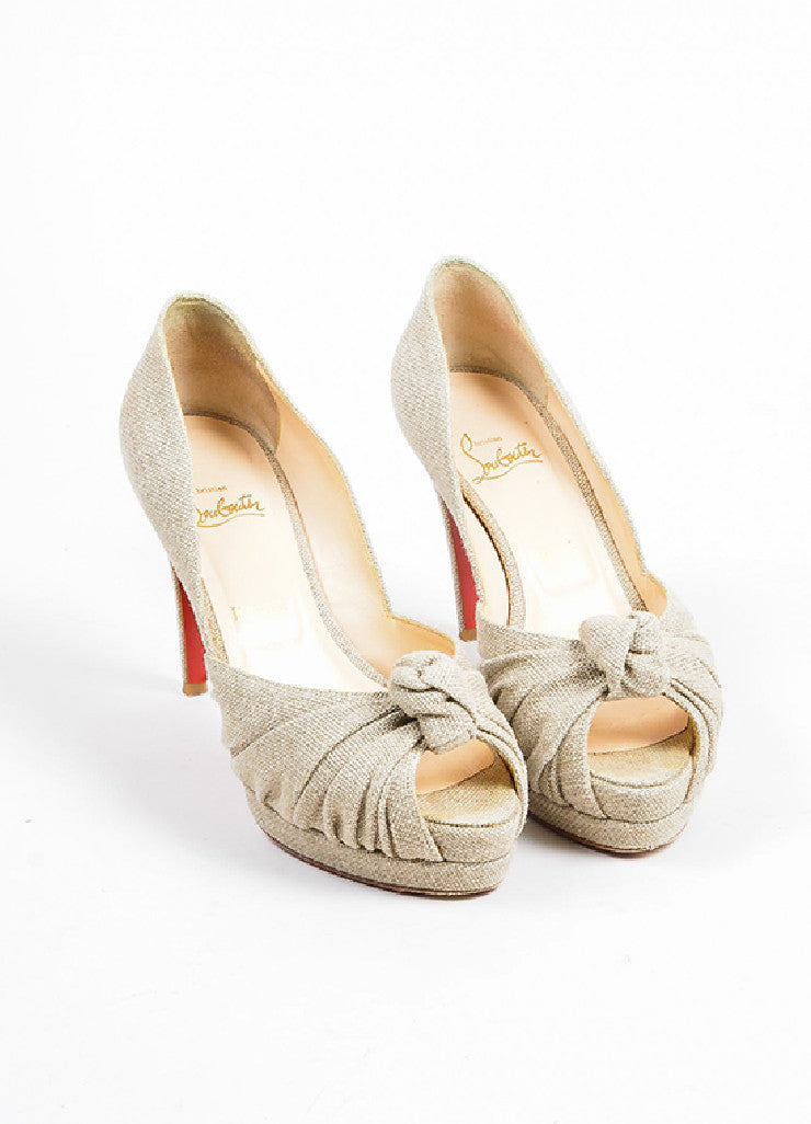 Beige Christian Louboutin Canvas Knot Peep Toe Platform Pumps Frontview
