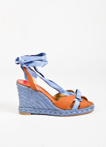 Christian Louboutin Blue Cognac Canvas Bow Strappy Espadrille Wedges Sideview