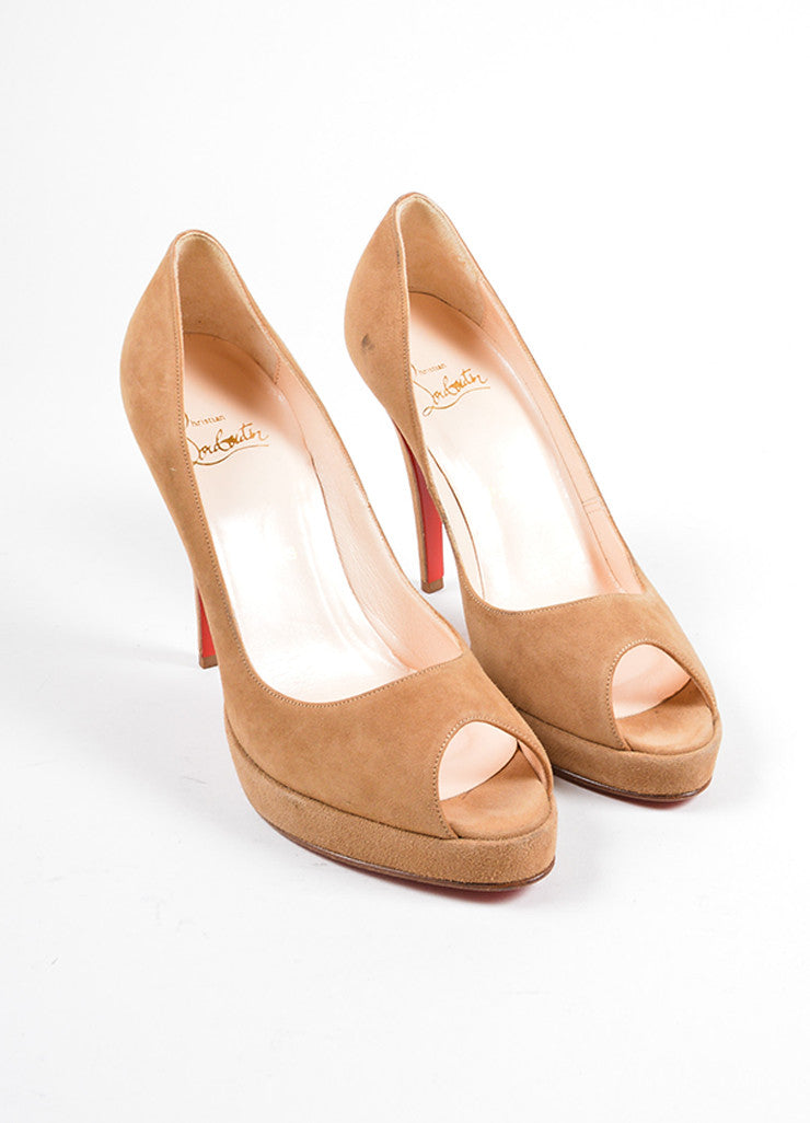 Christian Louboutin Tan Suede Peep Toe Platform Pumps Frontview