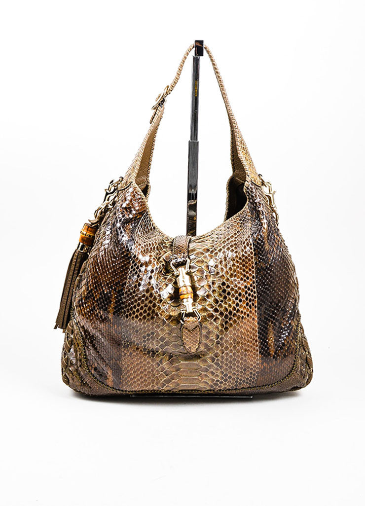 "Brown Gucci Python Leather ""New Jackie"" Hobo Shoulder Bag Frontview"