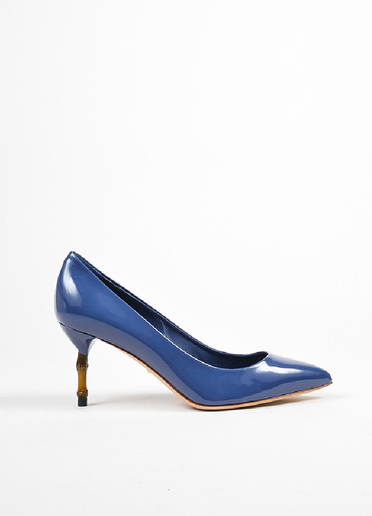 "Blue Gucci Patent Leather Pointed Toe Bamboo Heel ""Kristen"" Pumps Sideview"