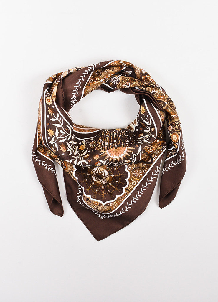 "Hermes Brown and Cream Silk Printed ""Aux Portes du Palais"" Scarf Frontview"