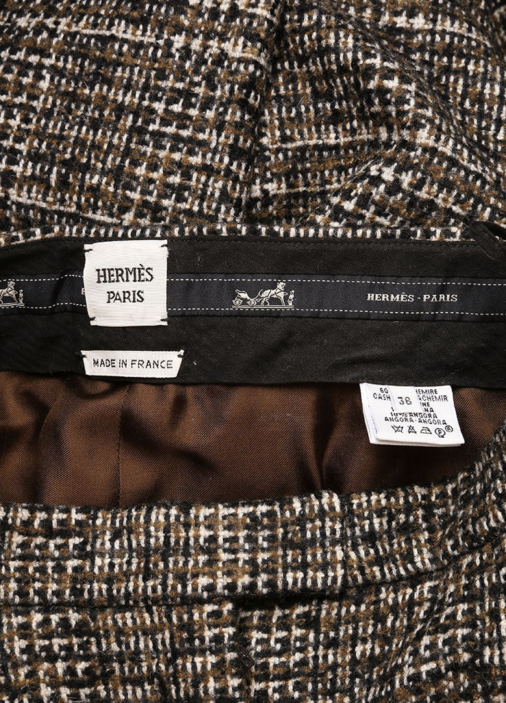 Hermes Brown and Green Cashmere, Wool, and Angora Tweed Pant Suit Brand