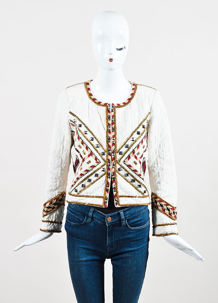 "isabel Marant Cream and Red Twill Quilted Embroidered ""Hippo"" Jacket Frontview 2"