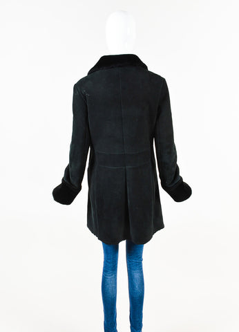 Jil Sander Black Leather Shearling Buttoned Coat Back
