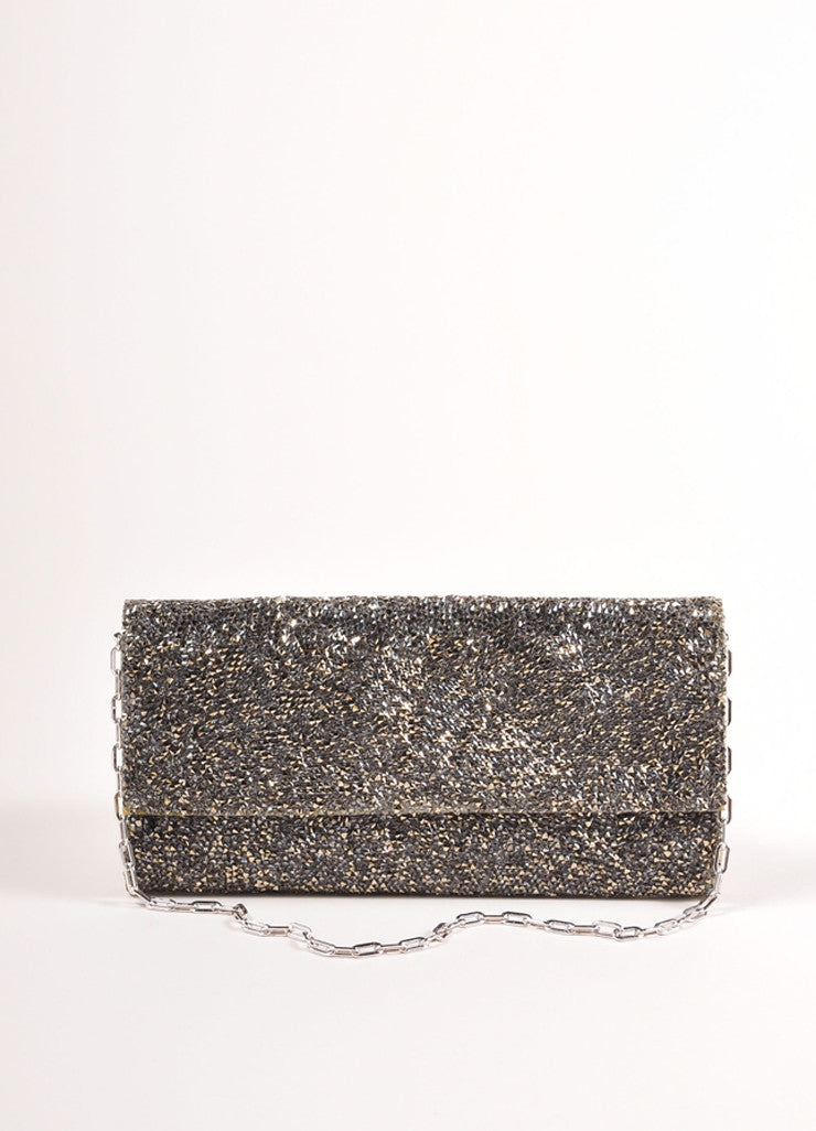 "Judith Leiber Silver Toned Satin and Crystal Encrusted ""Ritz Fizz"" Clutch Bag Frontview"