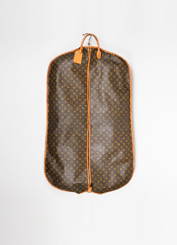 Brown and Tan Louis Vuitton Monogram Coated Canvas Leather Hanging Garment Bag Frontview