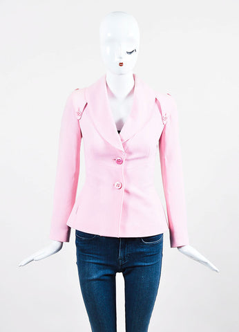 Luca Luca Light Pink Wool and Silk Blend Crepe Blazer Jacket Frontview 2