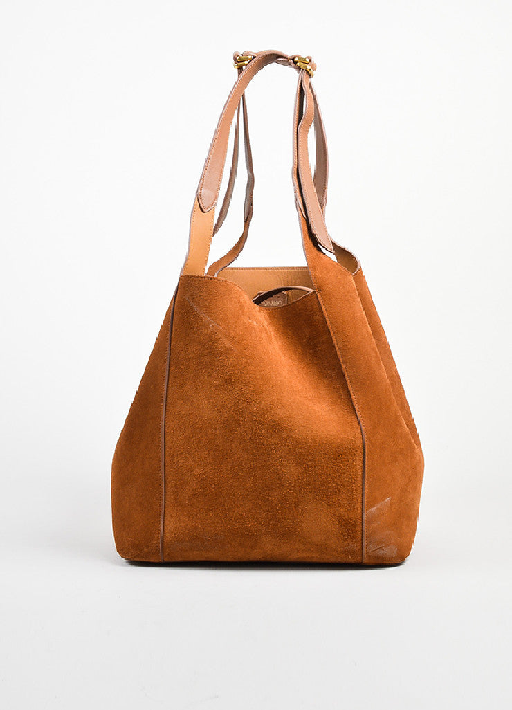 "Almond Brown Nina Ricci Suede Leather ""Faust"" Bucket Bag with Pouch Frontview"