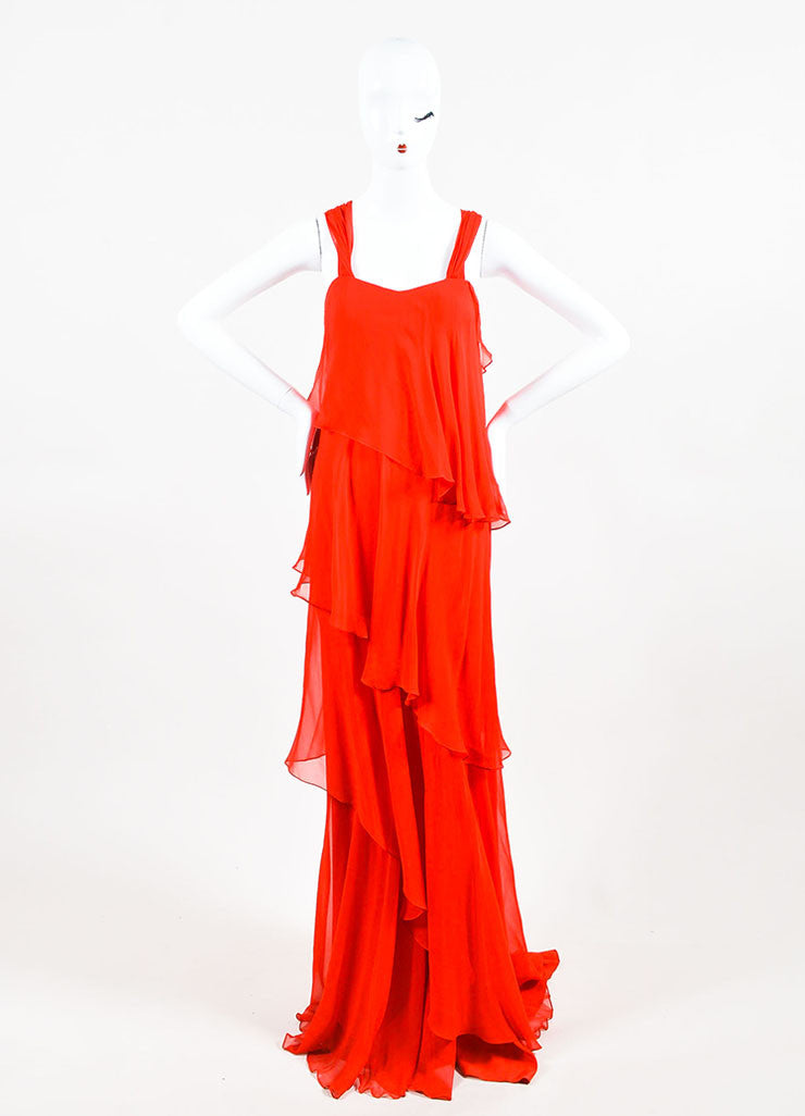 Red Pamella Roland Chiffon Asymmetrically Tiered Ruffle Dress Front