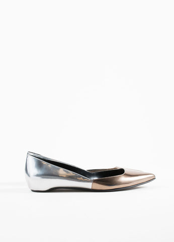 Pierre Hardy Silver and Bronze Leather Pointed Ballerina Flats Sideview