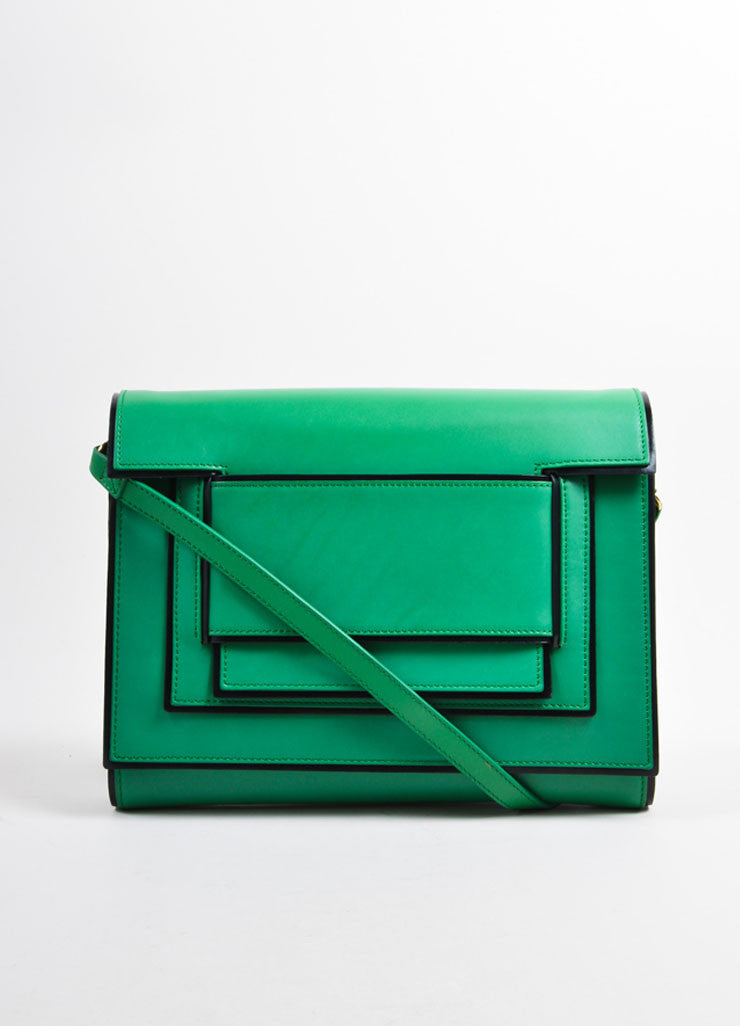 Pierre Hardy Green and Black Leather Convertible Flap Clutch Bag Frontview