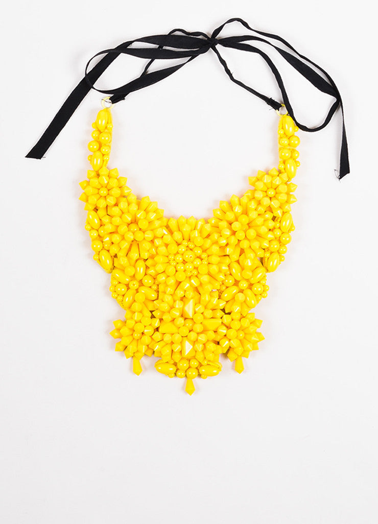 Prada Bright Yellow Acrylic Spiked Bead Bib Necklace Frontview