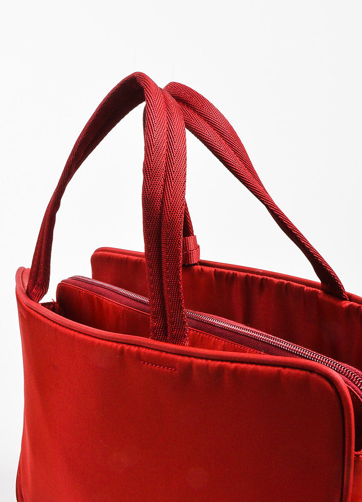 Red Prada Tessuto Nylon Three Compartment Tote Bag Detail 3