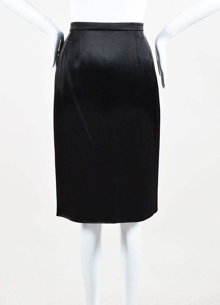 Chanel 95A Black Satin 'CC' Button Skirt Front 2