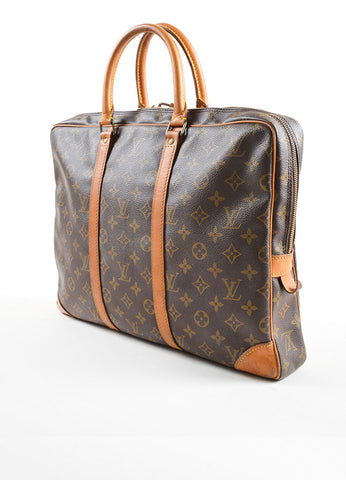 "Louis Vuitton Brown Coated Canvas and Leather ""Porte-Documents Voyage"" Briefcase Sideview"