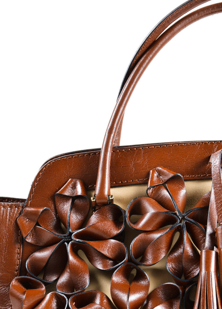 Valentino Brown Flower Embellished Tote Bag Detail 2
