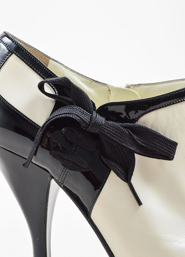 Yves Saint Laurent White & Black Leather Ankle Booties Detail