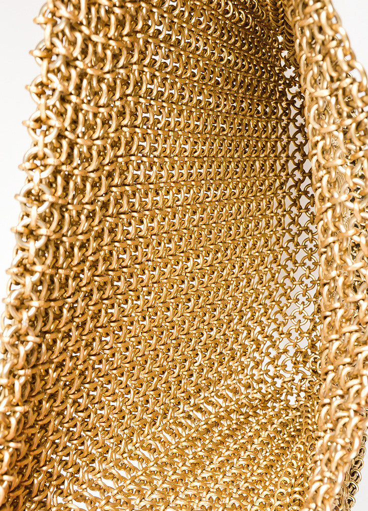 Bottega Veneta Gold Toned Chainmail Small Shoulder Bag Interior