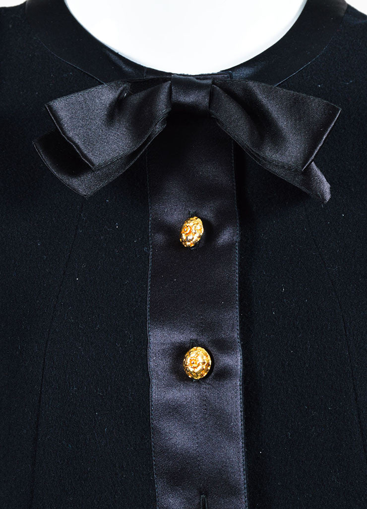 Chanel Black and Gold Toned Flower Button Front Bow Neck Drop Waist Long Sleeve Dress Detail