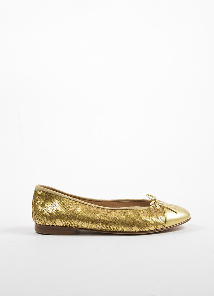 Gold Chanel Leather Cap Toe Sequin Ballet Flats Side