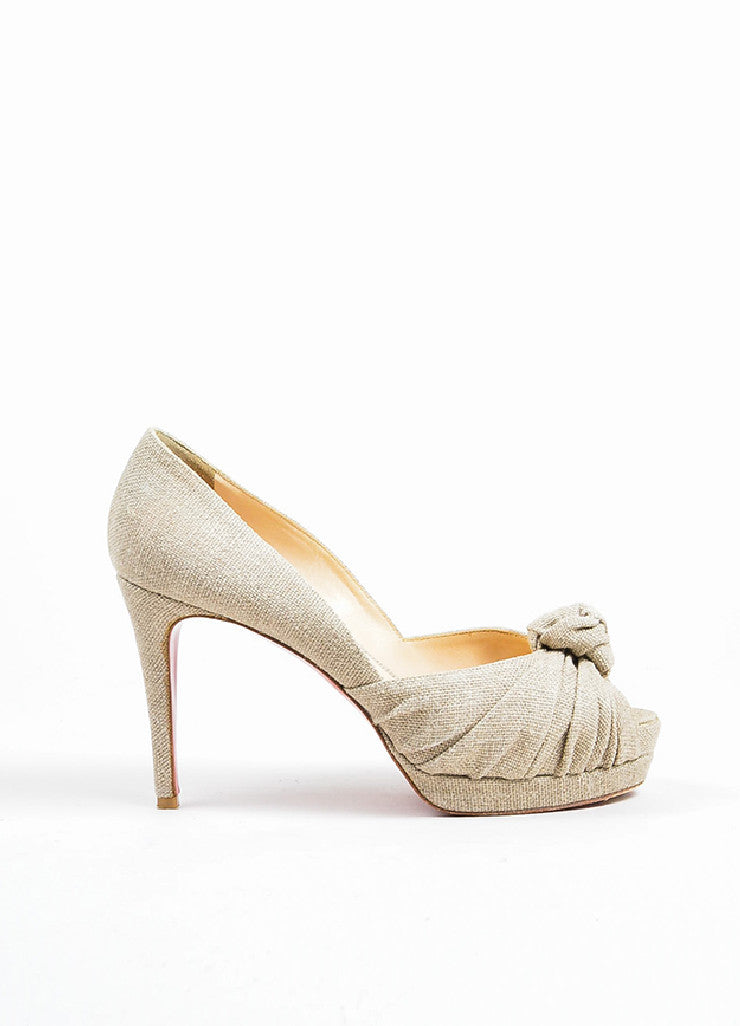 Beige Christian Louboutin Canvas Knot Peep Toe Platform Pumps Sideview